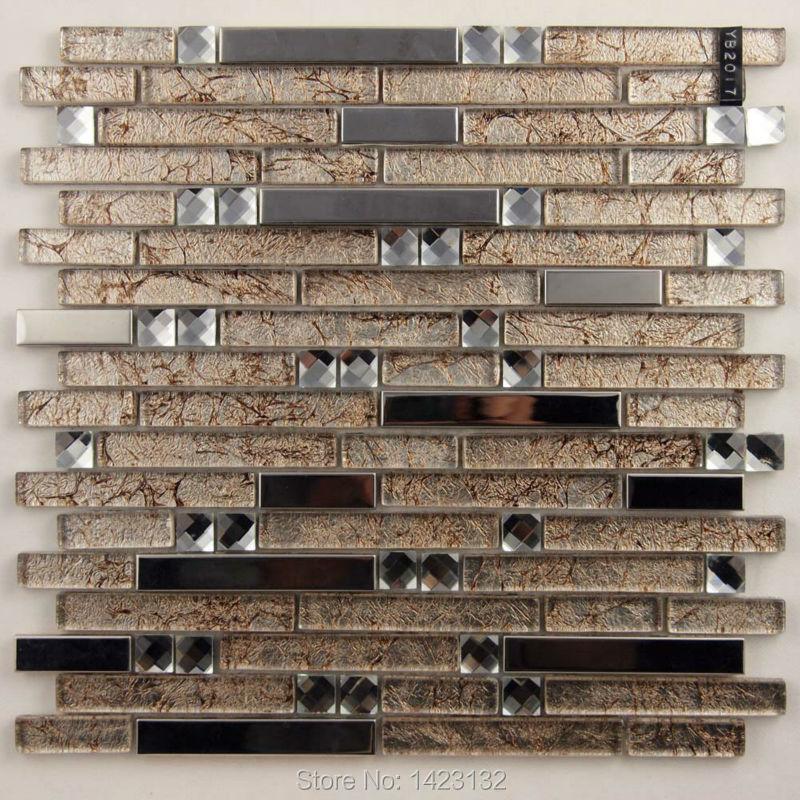 glass tile backsplash stainless steel kitchen wall sticker yb2017