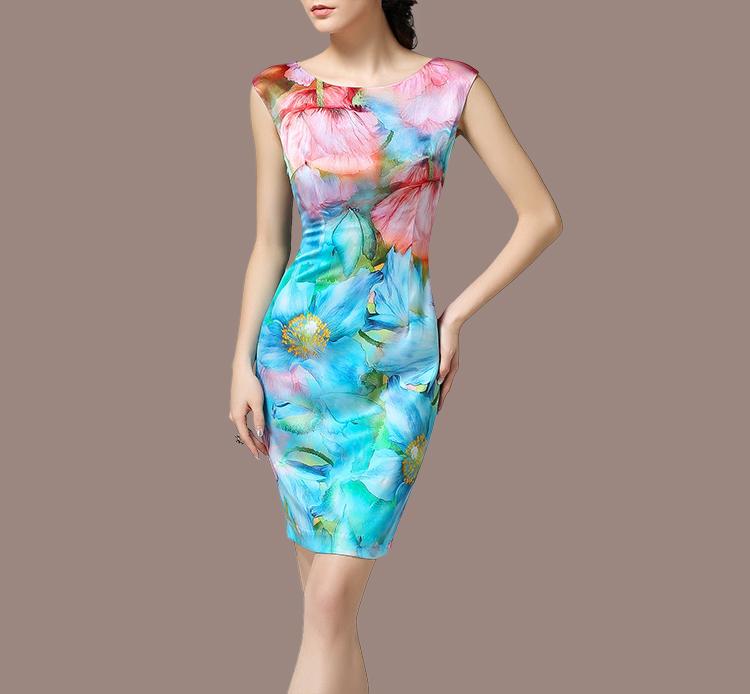 Woman OL summer plus size O-neck short light blue Print Knee-length slim 93.7% silk dresses lady hedging Mulberry silk dress D12