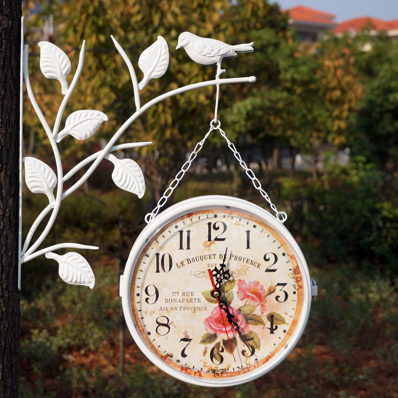 Wrought Iron Wall Clock Double Sided Watch Digital Wall Clocks Relogio Parede Vintage clocks Duvar Saatleri Klokken Relojes Klok(China (Mainland))