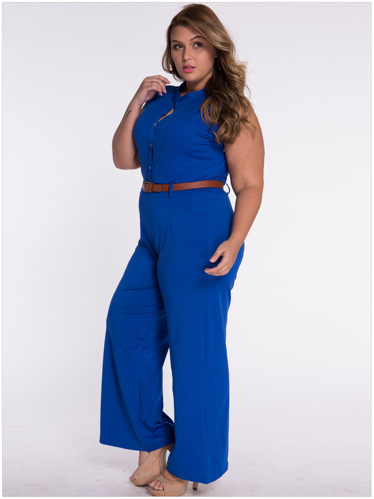 2016 Summer Women Wide Leg Rompers Jumpsuit With Belt Plus Size Women Clothing Overalls Casual Long Jumpsuit Rompers RE799(China (Mainland))