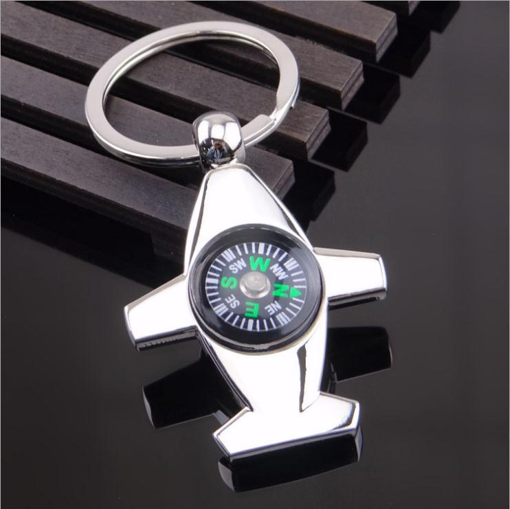 Free Shipping Cartoon KeyChain12 Pcs/LotCreative three-dimensional plane compass key airlines gift metal wear-resisting material(China (Mainland))