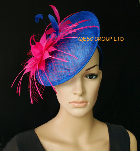 Cobalt Royal blue/fuchsia hot pink Sinamay fascinator hat for kentucky derby wedding party church(China (Mainland))