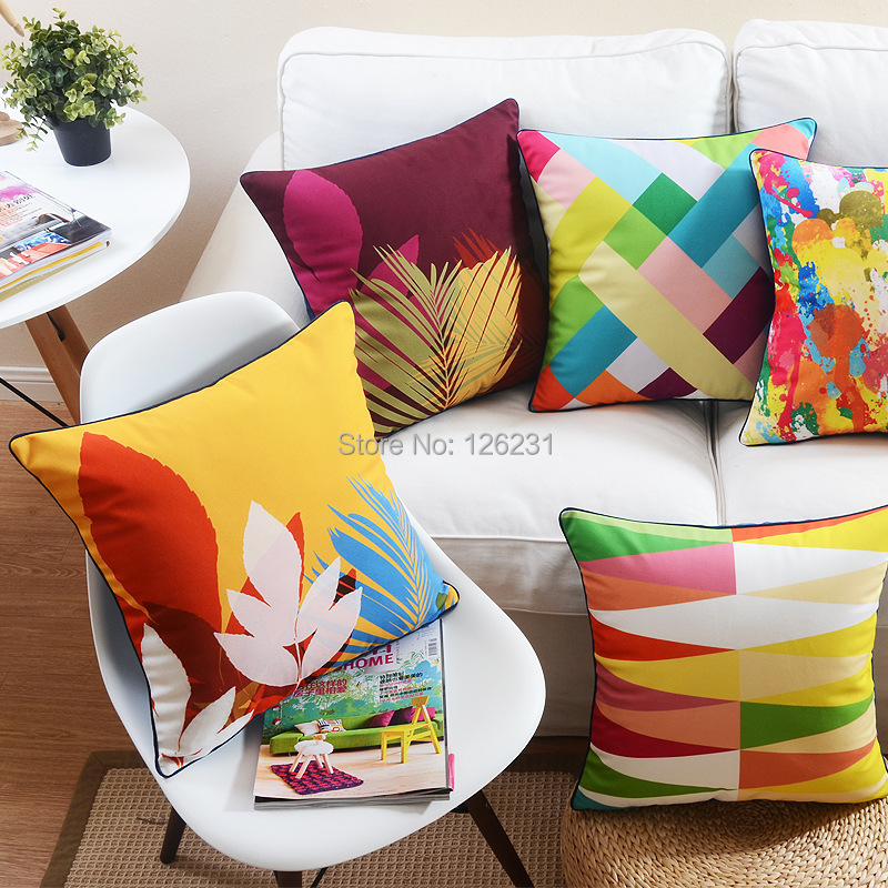 Soft Yellow Decorative Pillows : Aliexpress.com : Buy Free shipping creative Autumn leaves, Yellow, Red, Home Decorative Pillows ...