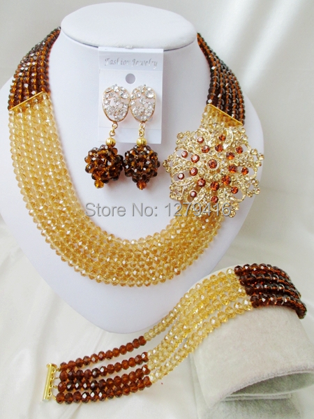 Fashion best-selling Nigeria beadwork African bead sets the bride wedding jewelry necklace bracelet earrings suit   A152<br><br>Aliexpress