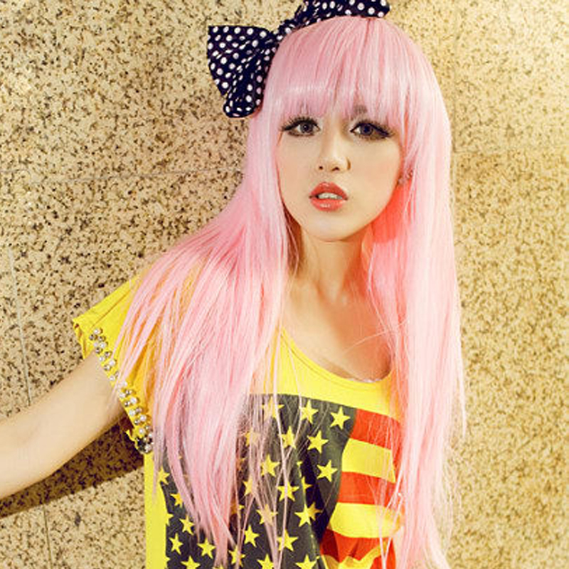 New Arrived Popular Cosplay Long Pink Hair Wigs Anime Neat Bang Straight peluca rosa Fashion Party Synthetic Wigs(China (Mainland))