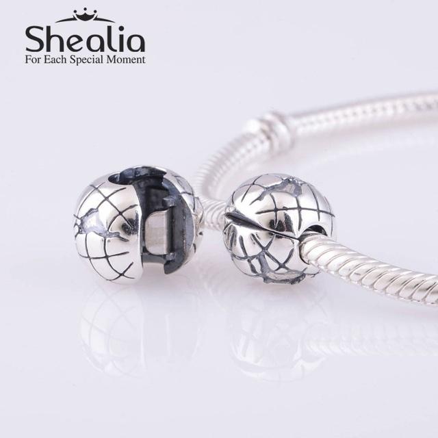 Аутентичные 925 стерлингового серебра глобус пробка мяч клип бусины DIY ремесло ювелирных изделий подходит европейский подвески браслеты