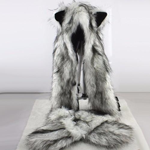 Women Fashion Wolf Ears Paws Faux Fur 3 in 1 Hat Scarf Mittens Winter Warm Cap