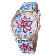 New 2015 high quality fashion quartz watches flower design dress watch rose gold plated causal women leather wristwatches