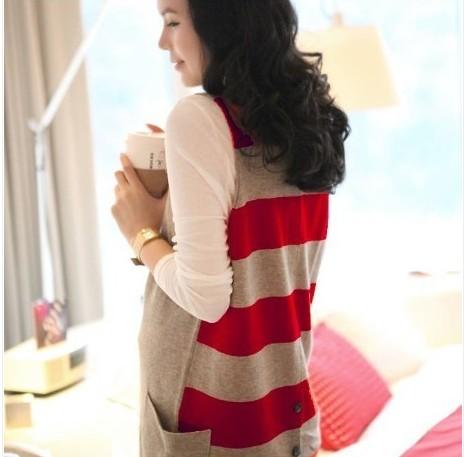 Maternity clothing autumn top maternity sweater dress vest long-sleeve basic shirt twinset(China (Mainland))