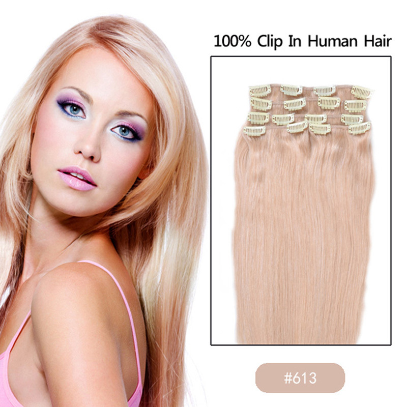 Best selling 15 18 20  22 24 human remy Clip Human Hair Extensions 70g/100g/110g Full Sead Set Color #1B Nature black<br><br>Aliexpress