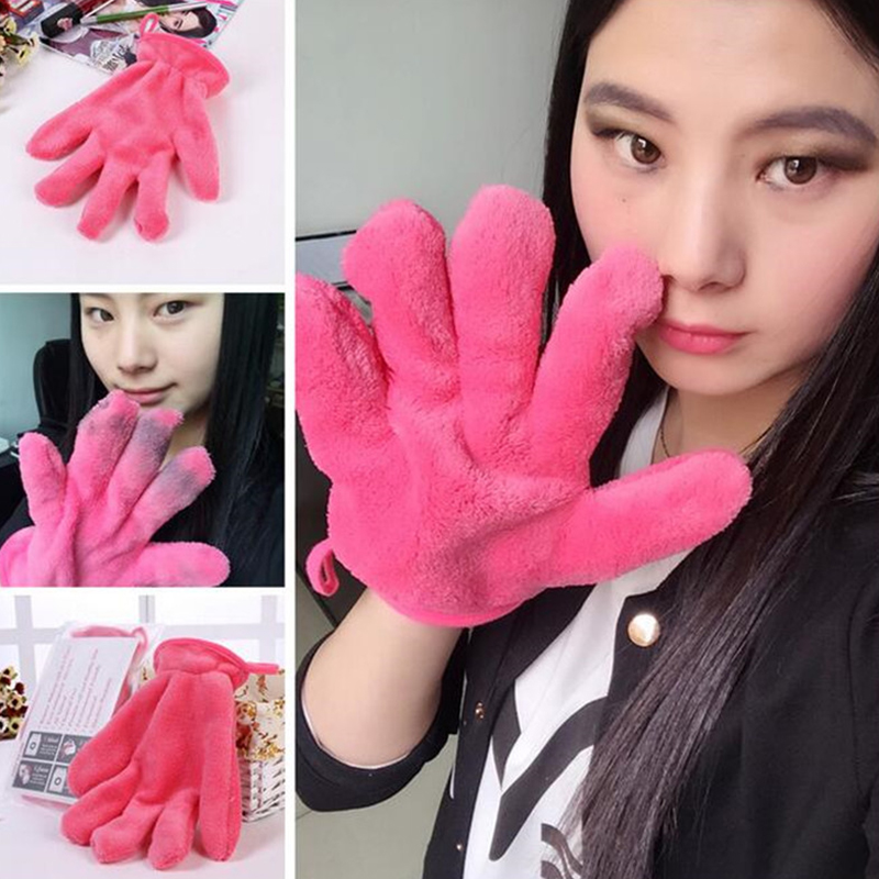 1 Pcs 2016 New Arrival Makeup Remover Glove / Cosmetic Removal Microfiber Rose Red Mitt/The Makeup Eraser Cleaning Cloth #86765