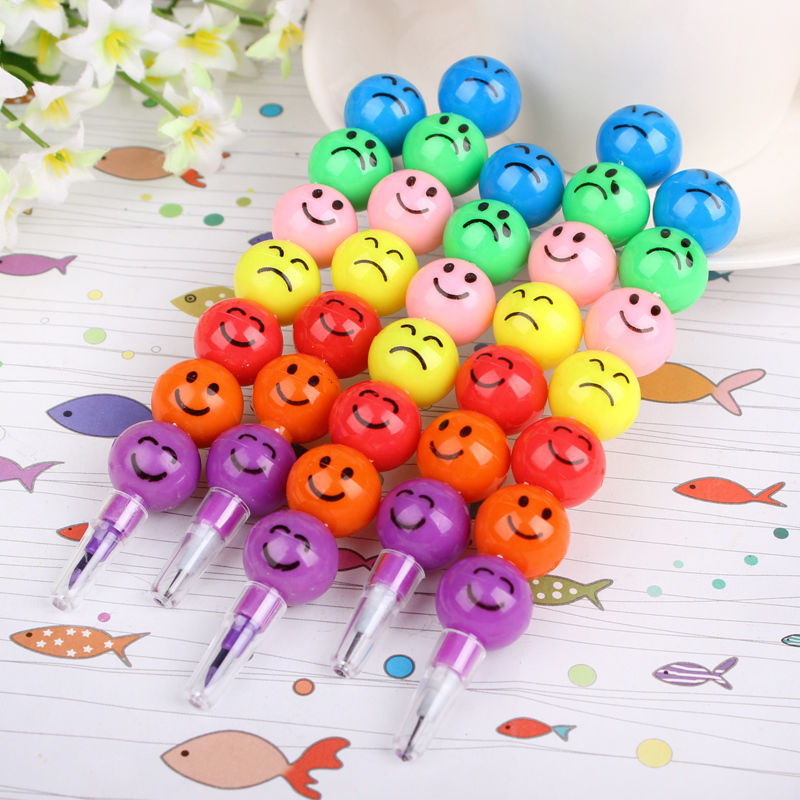 3 Pcs 7 Colors Cute Stacker Swap Smile Face Crayons Children Drawing Gift Hot Selling(China (Mainland))