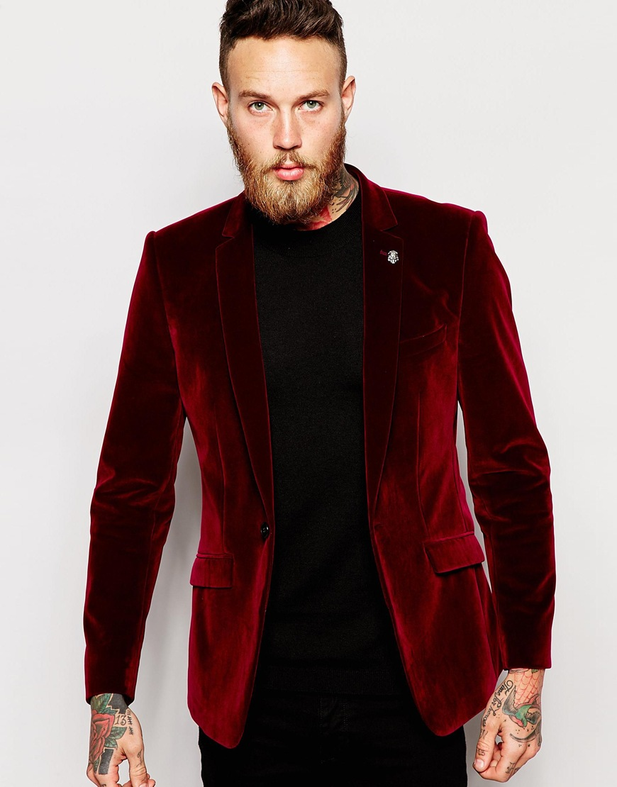 Collection Burgundy Velvet Blazer Mens Pictures - Reikian