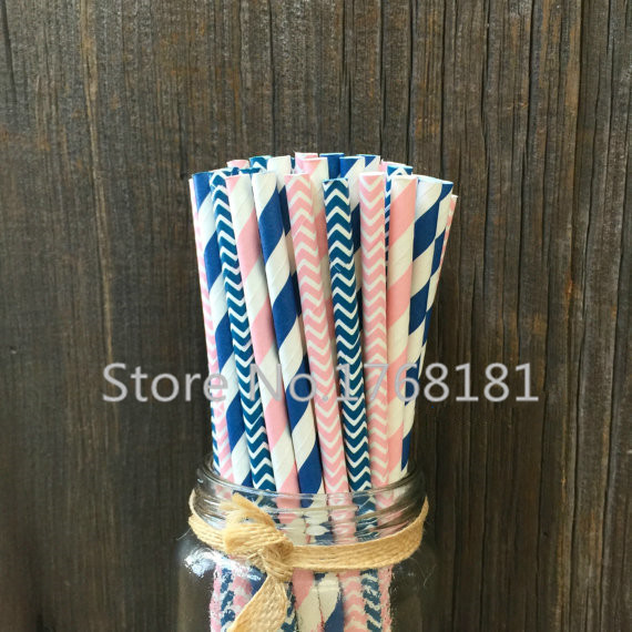 200pcs Mixed 4 Designs Navy,Baby Pink Paper Straws-Striped,Chevron-Zig Zag Retro Colored Straw Birthday Party Patriotic(China (Mainland))