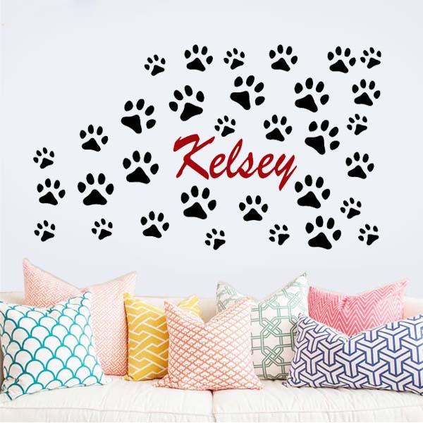 Custom name dog paw prints wall art stickers children for Custom vinyl mural prints