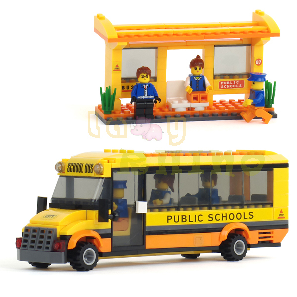 NEW Happy School Bus 293pcs Small Particles DIY Building Blocks baby toy Complete With Lego LR-11(China (Mainland))