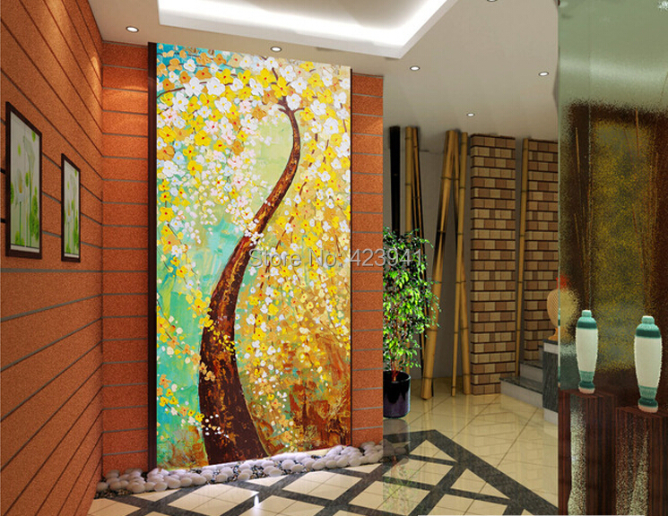 Can customized large 3d wall mural large wallpaper art wall home decor bedroom Good luck get rich tree oil paintings abstract(China (Mainland))