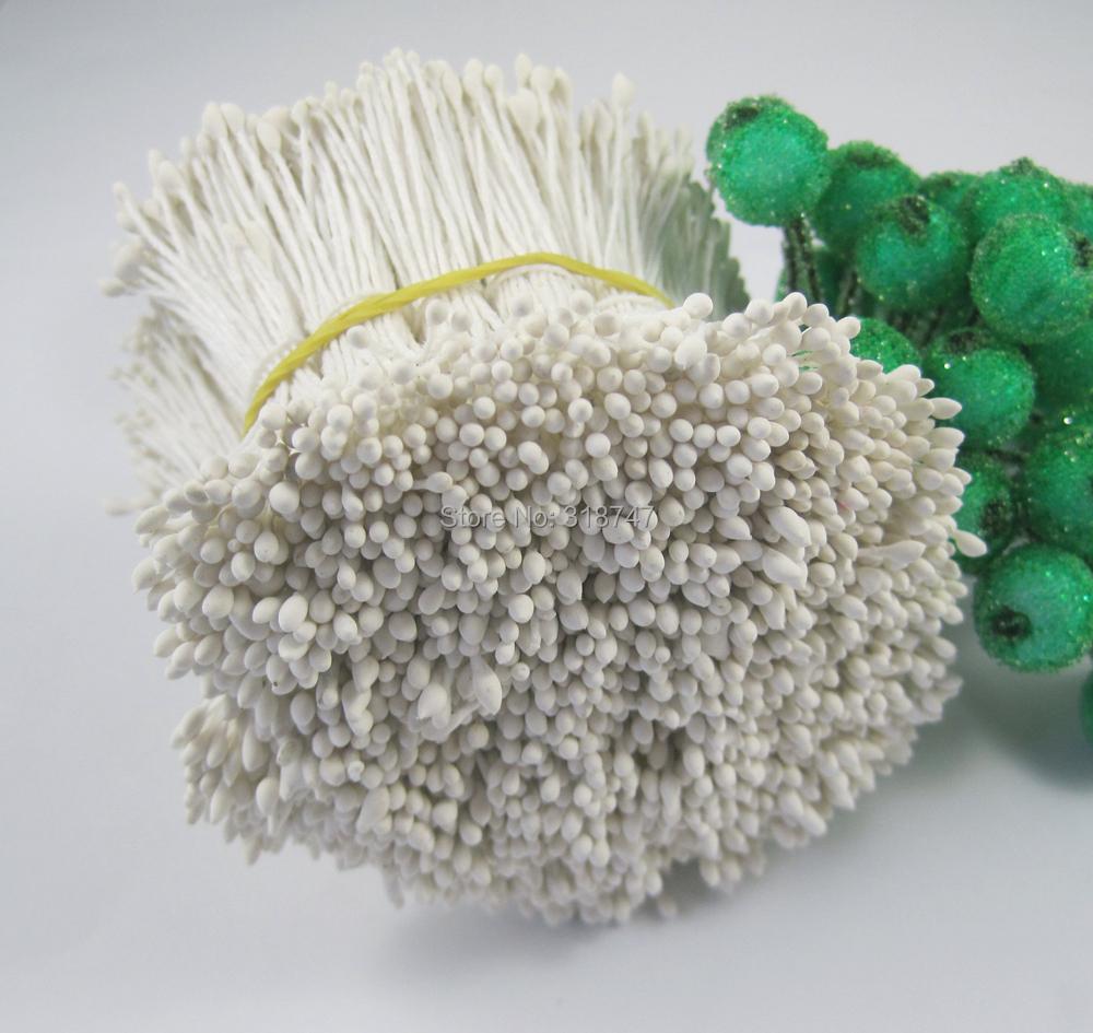 288pcs 1mm Matte White double heads flower stamen pistil cake decoration craft DIY 11020101(288)(China (Mainland))