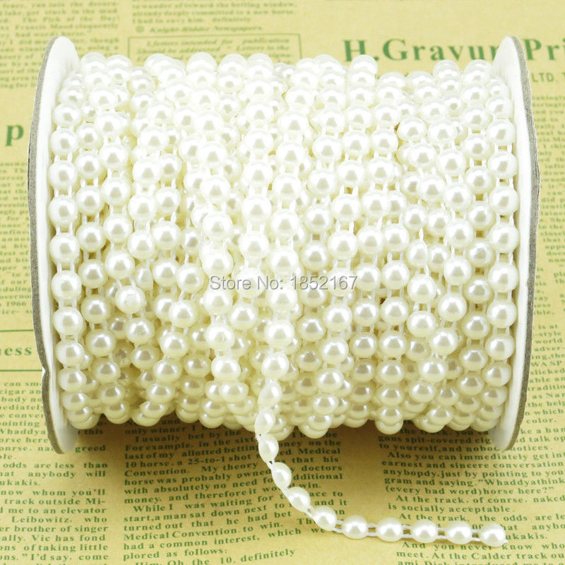 6mm Flat Back Pearl Trim Pink Ivory White Flatback Half Pearl Beads Trim Roll Sew Craft Strings For Bridal Wedding Accessories(China (Mainland))