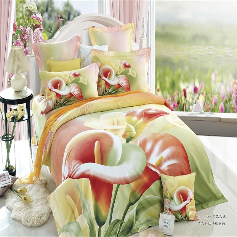 100% cotton Big Calla Flower 3d Oil painting effect 5feet 6feet Bed Queen size 4pcs home comforter/duvet cover bedding set/B3429(China (Mainland))