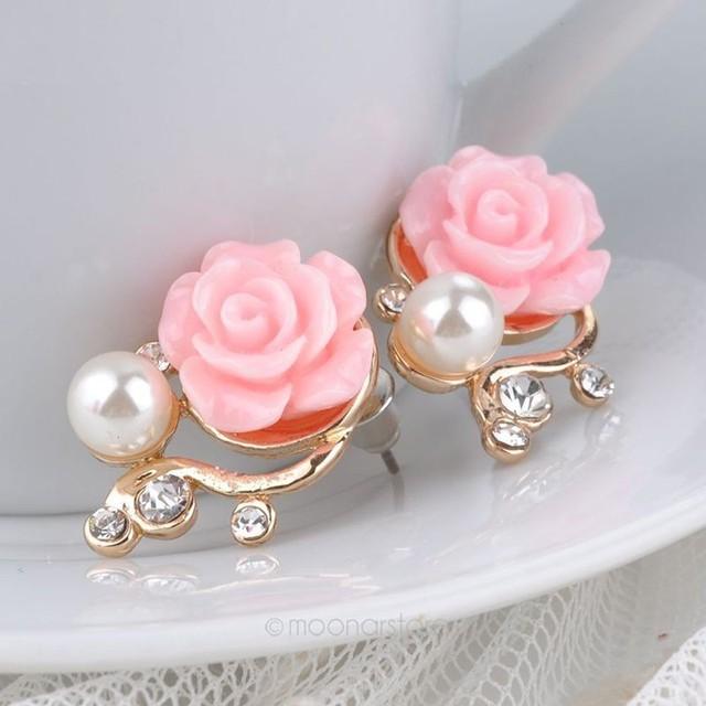 Sunshine Korean Style OL Pink Rose Flower Shiny Rhinestone Pearl Earrings