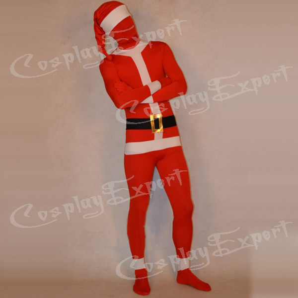 Free Shipping DHL Custom Made Adult Christmas Santa Claus Full Body Red Lycra Spandex Zentai Suit Fancy Funy Zentai Suit S-XXXL(China (Mainland))