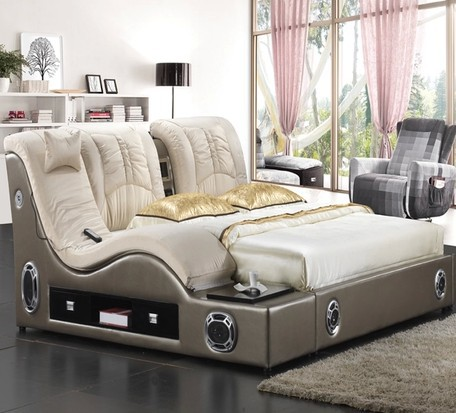 Furniture bedroom beds bedroom furniture massage bed leather double bed. bed alarm Picture   More Detailed Picture about Furniture bedroom