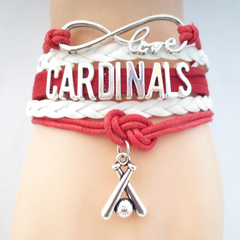 Infinity Love CARDINALS baseball Sports Team Bracelet red white Customize Sport friendship Bracelets B09331(China (Mainland))