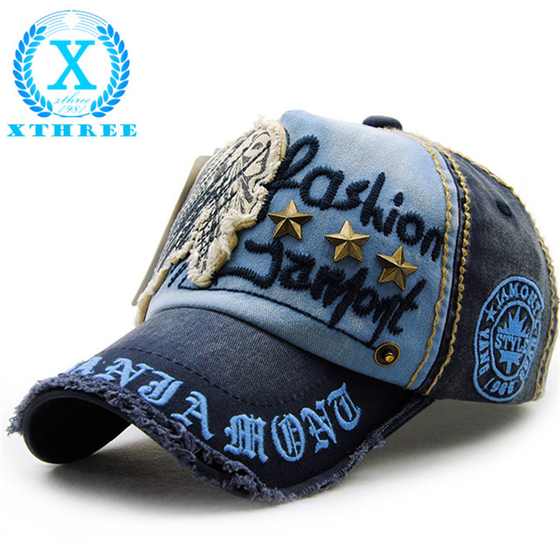 Xthree brand cotton fashion embroidery antique style Baseball Cap casquette snapback hat for men women(China (Mainland))