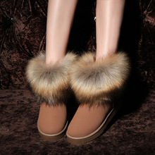 High Quality Hand made Rabbit Hair Women Snow Boots 2017 Winter Boots Cotton Warm Shoes Women's Boots Ladies Ankle Botas Y002(China (Mainland))
