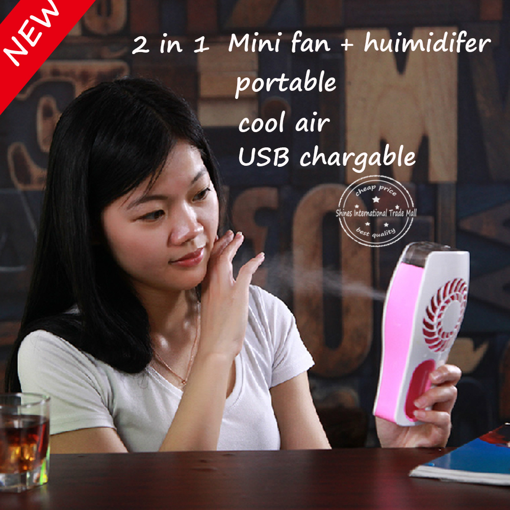 [ new] 2 in 1 mini Portable USB Charging Fan and Automatic Humidifier mobile table desk personal fan cooling air(China (Mainland))