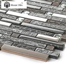 New arrival 11 sheets lot interlocking pattern black resin stainless steel diamond floral kitchen backsplash tile