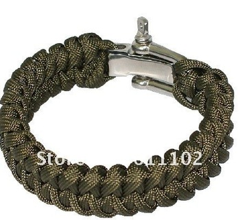 Outdoor 7 core umbrella rope bracelet steel buckle survival bracelet /quick release for safety and rescue rope