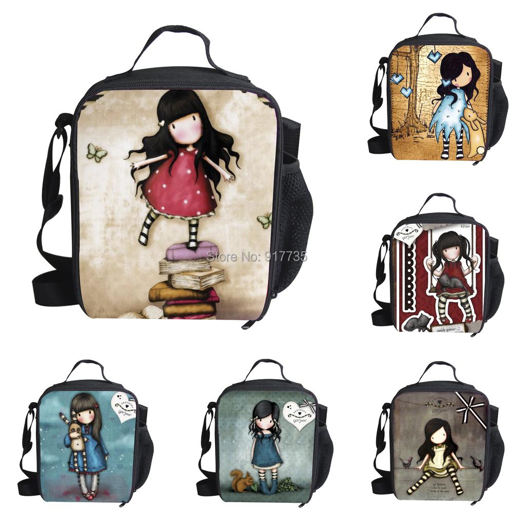 New 2015 Fashion Illustration Cartoon Girls Santoro Gorjuss Lunch Bags Carry Storage Picnic Bag Pouch lunch bag Mochilas(China (Mainland))