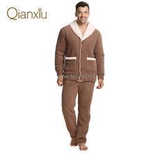 Qianxiu Brand Pajamas Winter Thicken Casual  Pajama Set Plus Size Women and Men Cardigan Lounge Wear Free Shipping(China (Mainland))
