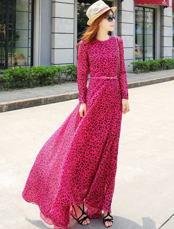 women's one-piece dress Bohemia floor-length trumpet rose red leopard mermaid 204753 Free Shipping(China (Mainland))