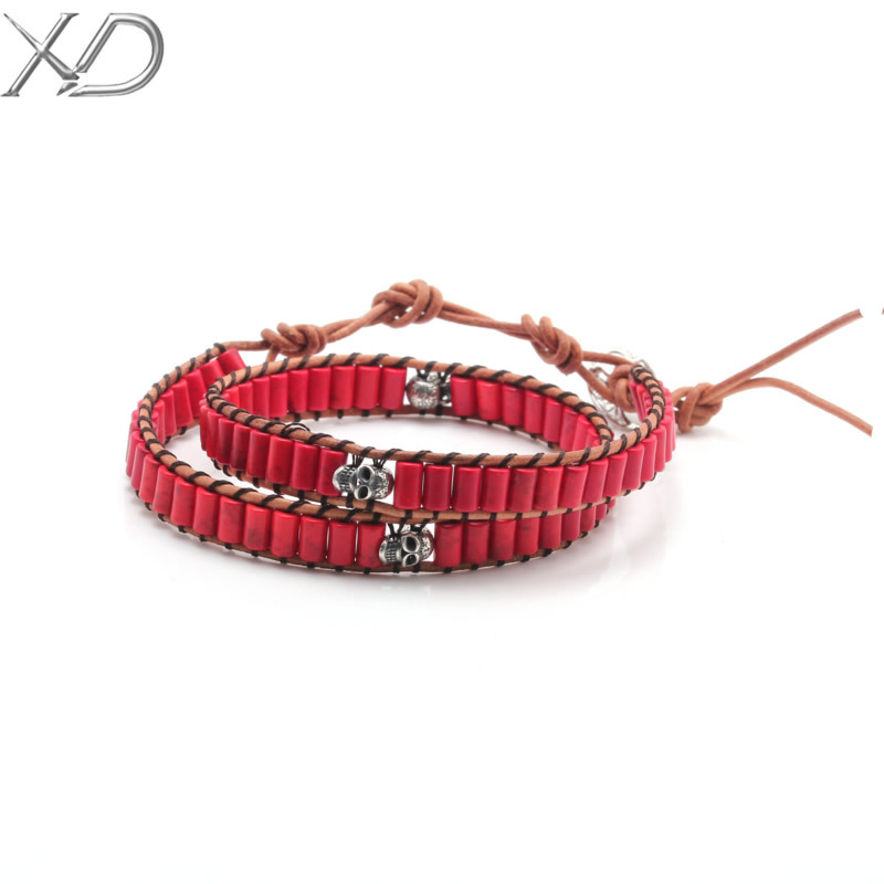 XD AEB101E New product Genuine leather strand bracelet elegant design 925 silver fashion jewelry skeleton turquoise bracelet<br><br>Aliexpress