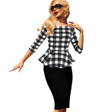 Women's Elegant of Vintage Tartan Plaid Patchwork Contrast Tunic Dress Flouncing package hip dresses