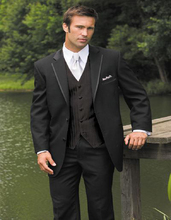 Classic Black Wedding Suits For Men Tuxedos Notched Lapel Mens Suits Two Button Groomsmen Suits (jacket+pants+vest+tie)