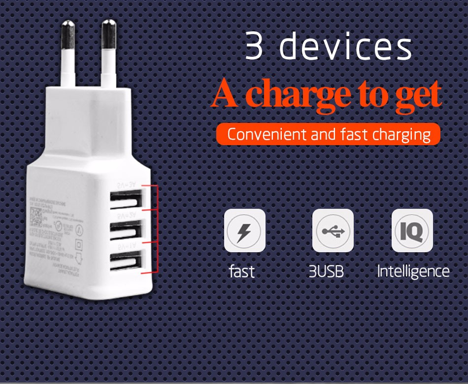 Adapter 2A 5V USB 3 Ports EU Plug Wall Charger cable for iPhone 4s 6 6s 5 5s  HTC Samsung galaxy S5 S4 note 3 note4 mobile phone