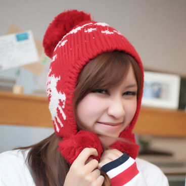 Winter hat female christmas deer yarn sphere ear protector cap knitted hat knitted hat autumn and winter