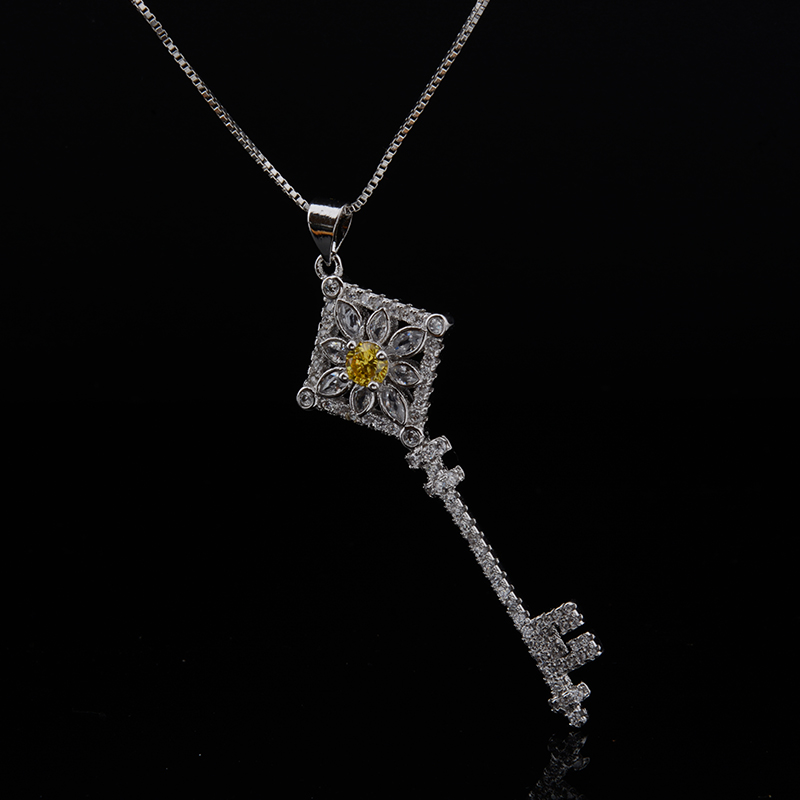 Fashion Keys Fancy Necklace White Gold Plated CZ Diamond Pendant Necklaces Fashion Women Vintage-accessories(China (Mainland))