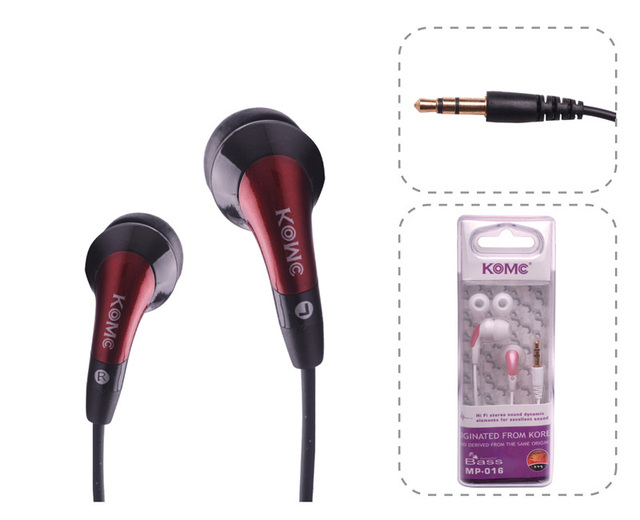 Free shipping Mp-016 in ear wired 3.5mm earphones, with remote control