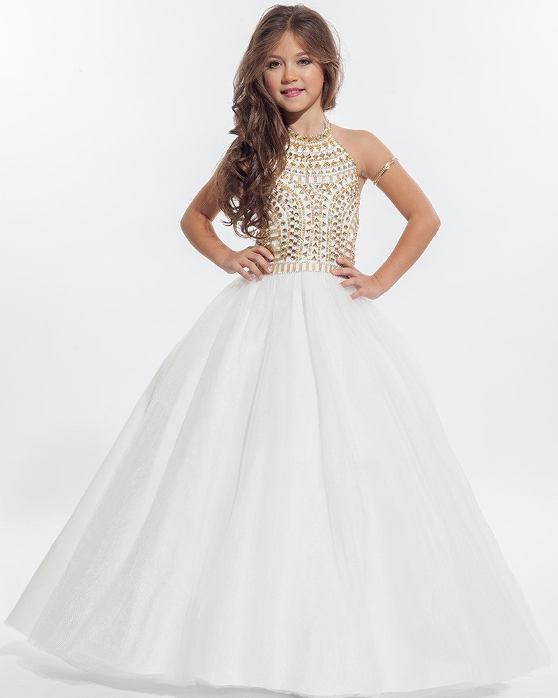 High Quality White and Gold Flower Girl Dresses-Buy Cheap White ...