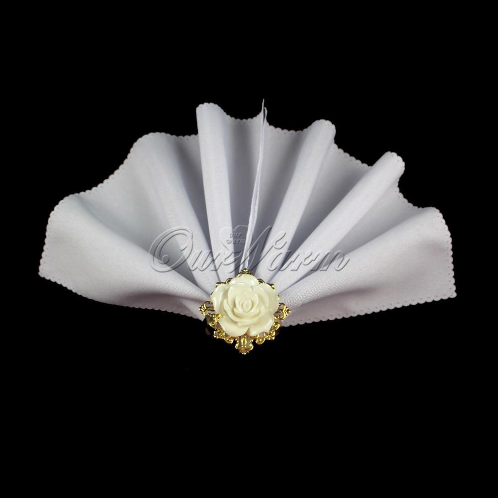white rose decorative gold napkin ring serviette holder for wedding