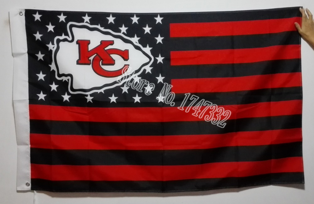 Kansas City Chiefs NFL Premium Team Football Flag Black And Red Hot Sell Goods 3X5FT 150X90CM Banner brass metal holes(China (Mainland))