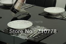 4pcs wholesale 36x26cm black+ silver paillette table mats placemats home party festival decoration(China (Mainland))