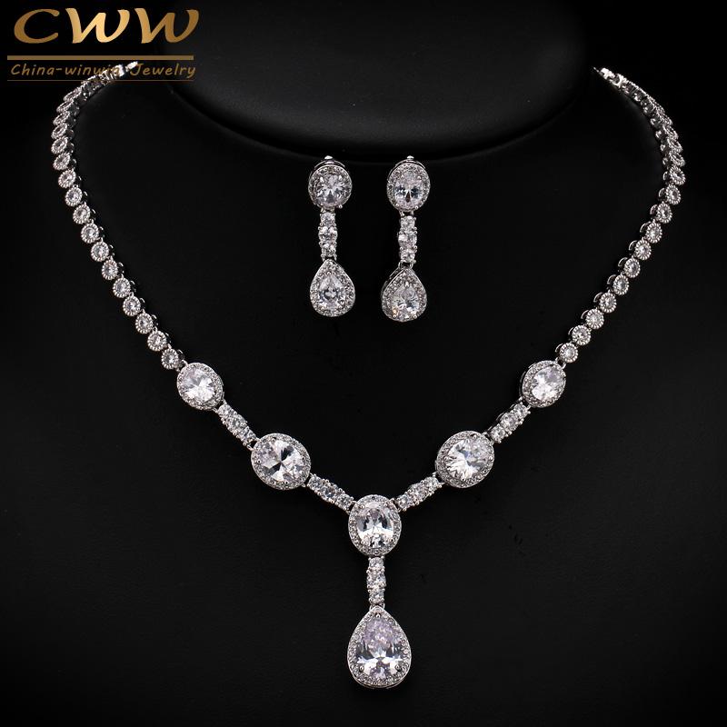 White Gold Plated Sparkling Big Round African CZ Diamond Women Wedding Zircon Jewelry Sets For Brides Accessories  T253
