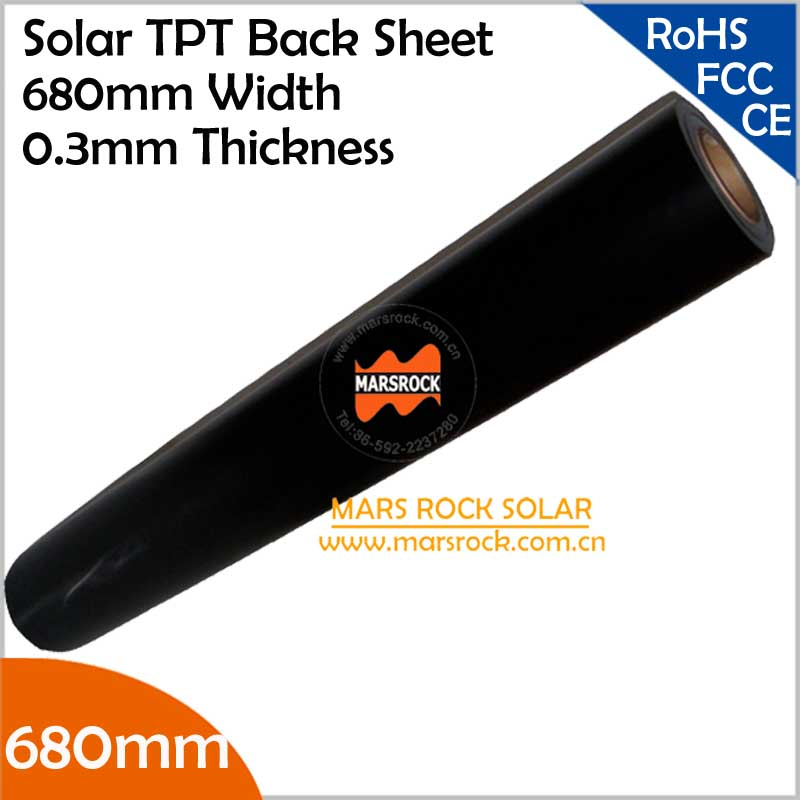 10 meter/lot Wholesale Black TPT Solar Back Sheet, 680mm Width 0.3mm Thickness, Black Back Sheet Solar Panel Laminated Material(China (Mainland))