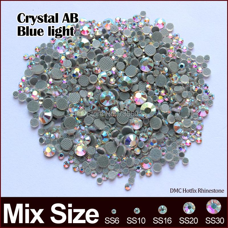 Hotfix Rhinestone Crystal AB Blue light Mixed size SS6 SS10 SS16 SS20 SS30  2400pcs/lot  for rhinestone motifs free shipping(China (Mainland))